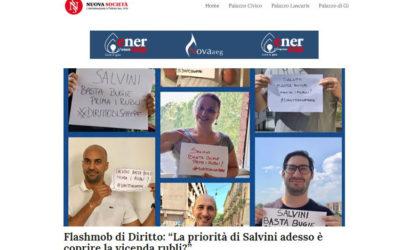 """Flashmob di Diritto: """"La priorità di Salvini adesso è coprire la vicenda rubli?"""""""